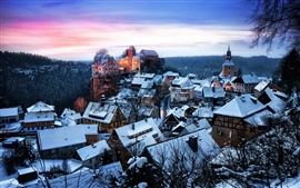 Preview wallpaper Germany, Saxony, Honshtayn, castle, houses, winter snow, forest, trees, sunset
