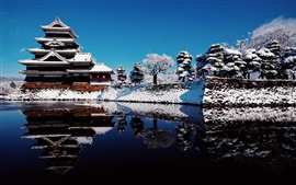 Japan Attractions in winter snow, temple, lake reflection and blue sky