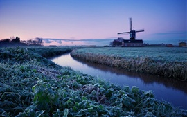 Preview wallpaper Netherlands winter morning, sunrise, farm, windmill, frost, river, blue sky