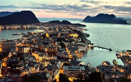 Norway Alesund city, night view, lights, sea, houses