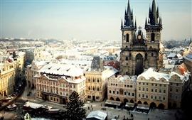 Praga, República Checa, de la ciudad, la Plaza Vieja, invierno, nieve,