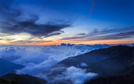 Preview wallpaper Taiwan, National Park, mountains, trees, mist, clouds, sky, evening, sunset