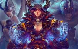 World of Warcraft, pintura del arte, muchacha, monstruo