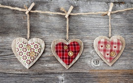 Preview wallpaper Art, hearts, wood, fabric and buttons, clothespins and rope