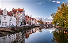 Preview wallpaper Brussels, Belgium, beautiful autumn scenery, houses, water, river, bridge, trees
