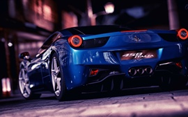 Preview wallpaper Ferrari blue supercar at city street