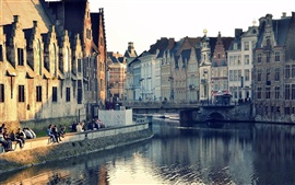 Preview wallpaper Ghent, Belgium, city houses, buildings, river water, reflection, bridge
