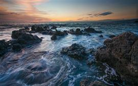 Hawaii paisaje, mar, rocas, puesta del sol
