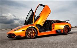 壁紙のプレビュー ランボルギーニムルシエラゴLP670-SVオレンジスーパーカー