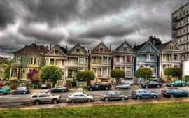 San Francisco, Victorian, houses, car, cloudy sky