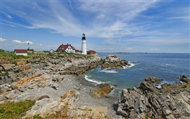 Sea, coast, lighthouse