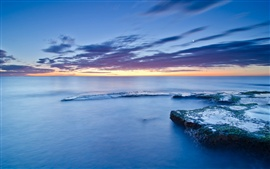 Preview wallpaper Spain, Valencia, stones, moss, sea, coast, calm evening, sunset, blue sky