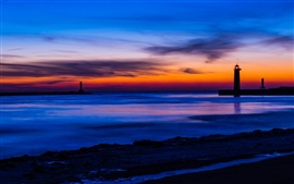 USA, Michigan, sea, beach, lighthouse, night, blue and orange sky, sunset, clouds