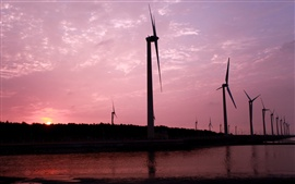 Windmills, pink sky, sunset