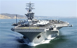 Preview wallpaper Aircraft carrier, fighters, helicopters, sea