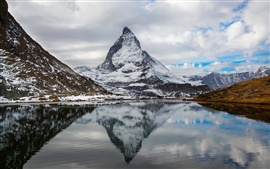 Alps, Switzerland, Italy, Mount Matterhorn mountain lake, water reflection, sky