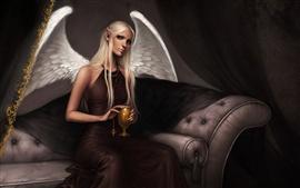 Vorschau des Hintergrundbilder Engel Mädchen sitzen auf dem Sofa