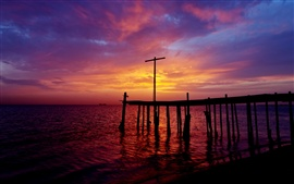 Bahrain, Persian Gulf, sea, pier, sunset, purple sky