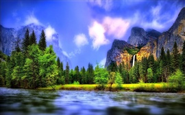 Beautiful landscape, river, forest, waterfalls, mountains