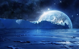 Blue sea ice water, cold night, planets and stars