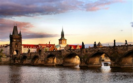 Czech Republic, Prague, city, river, bridge, houses