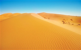 Paisaje del desierto, las dunas, la arena amarilla, cielo azul