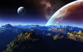 Preview wallpaper Fantastic scenery, mountains, space, planet