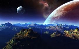 Фантастические пейзажи, горы, космос, планета