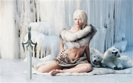 Fantasy girl warrior, sword, snow ice, white wolves