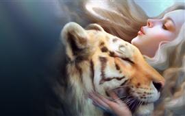 Muchacha de la fantasía con el tigre