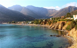 Preview wallpaper Greece sea beach, houses, mountains