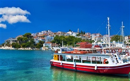 Greece, sea, boats, houses, blue sky, clouds