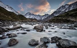 Hooker River, Mount Cook National Park, New Zealand, mountains, rocks