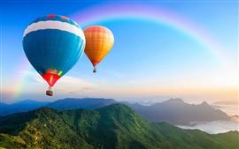 Globo de aire caliente, arco iris, colinas