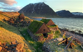 Iceland landscape, coast, sea, houses, mountains