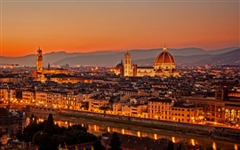 Preview wallpaper Italy, Firenze, city at evening sunset