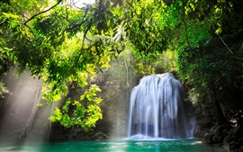 Kanchanaburi, Thailand, waterfall, nature, sunlight, water, trees