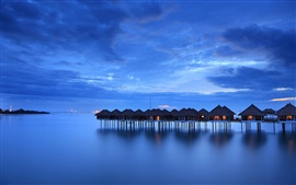 Malaysia, calm sea, coast, houses, night, sky, blue