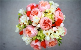Preview wallpaper Peony, freesia, hydrangea, flowers bouquet