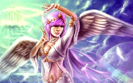 Purple hair fantasy angel girl, wings feather