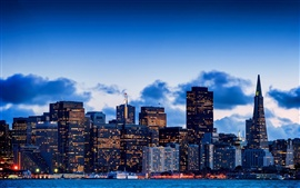 サンフランシスコ、カリフォルニア、米国、都市、湾、夜、空、超高層ビル、ライト