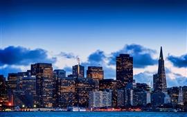 San Francisco, California, USA, city, bay, evening, sky, skyscrapers, lights