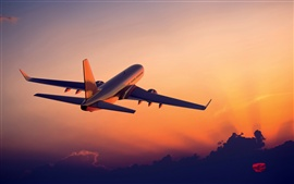 Preview wallpaper The plane flying at sunset, airliner photography