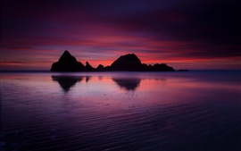 Preview wallpaper USA, California, ocean, beach, rock mountains, evening, twilight, crimson sunset