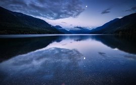 USA, Washington, National Park, forest, mountains, lake, moonlight night
