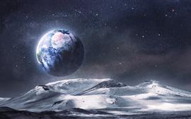 壁紙のプレビュー 宇宙の惑星から地球を見る