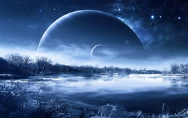 Preview wallpaper Winter snow lake trees, planets in the sky, creative design