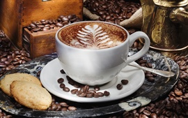A cup of cappuccino coffee, saucer, grain, biscuits Wallpapers Pictures Photos Images