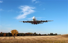 Preview wallpaper Airbus A380, Emirates Airline, Passenger Airplane, fields