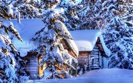 壁紙のプレビュー アラスカの冬の風景、雪、森林、トウヒ、小屋